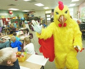 The Le Peep® chicken makes visit to neighborhood schools.